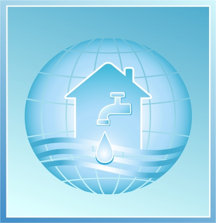 water sanitation: faucet with a clean drop of water against the background of the planet