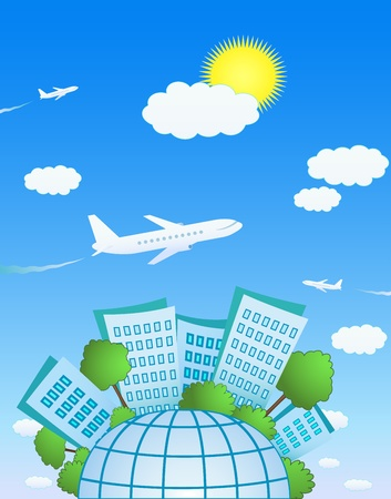 vacation home: International plane flying above the cute planet