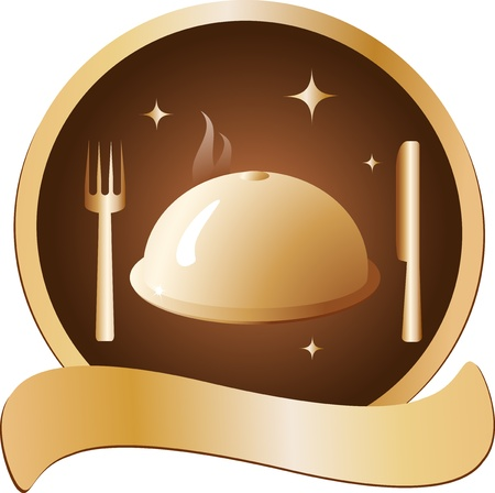 prestige: prestige golden symbol with hot dish and cutlery Illustration