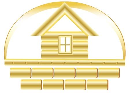 materiali edili: Segno di costruzione di casa con oro e mattoni