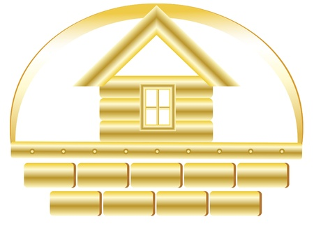 gold house: Sign of construcion with golden house and bricks