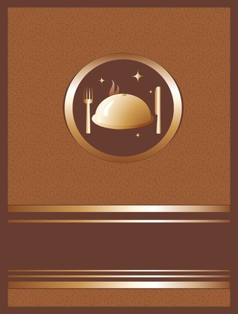 beautiful golden invitation with dish, with fork and knife Vector