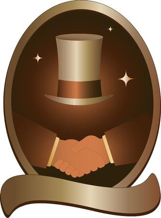golden symbol with handshake and hat Stock Vector - 12340640