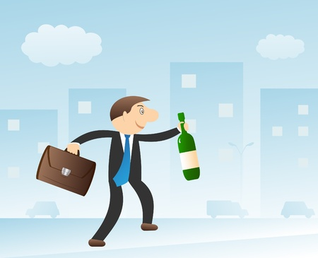 Happy man with bottle in the city Vector