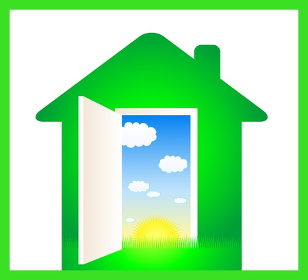 clean house: green eco house with door and cloud, sun, grass