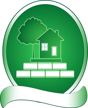CONSTRUCTION LOGO: Emblem with green house, tree and rich
