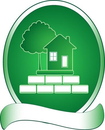 logotipo de construccion: Emblema de la casa verde, árbol y rica Vectores