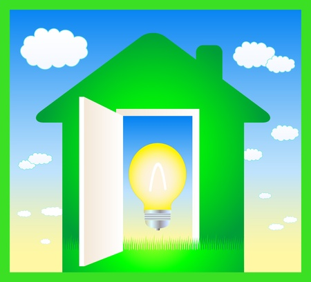 green sign with light bulb in blue background Vector
