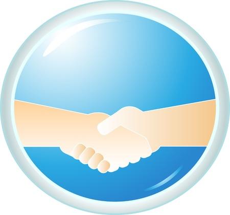 symbol power handshake on blue round background Vector