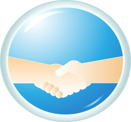 symbol power handshake on blue round background Vector