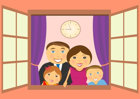cheerful happy family in big open window Stock Vector - 12333798