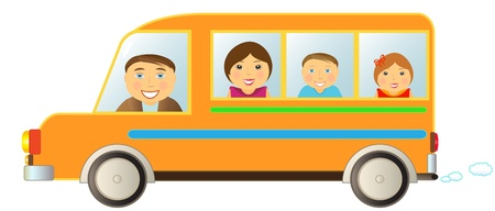 cartoon cheerful family moving in funny bus Vector