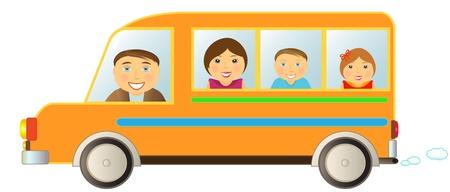 la famille dessin animé se déplaçant en bus drôle