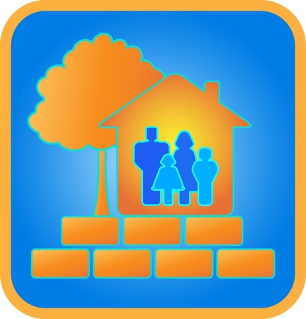 trees services: sign family in house, bricks and tree Illustration