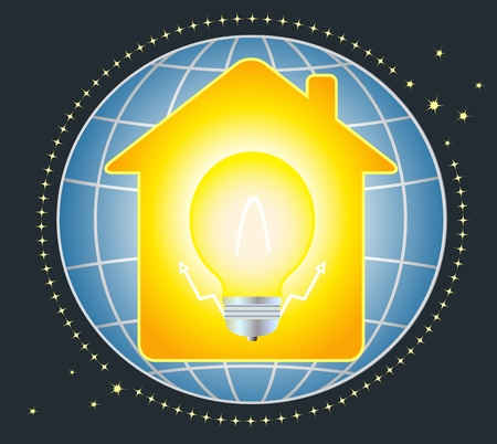 symbol of electricity to house and light bulb on planet Vector