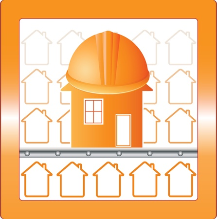 symbol house in safety with protection helmet Vector