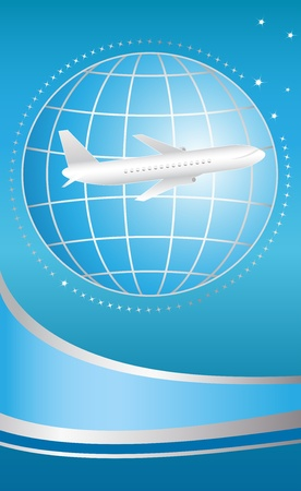 airplane take off: blue cover for ticket international flying plane Illustration