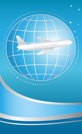 travel logo: blue cover for ticket international flying plane Illustration