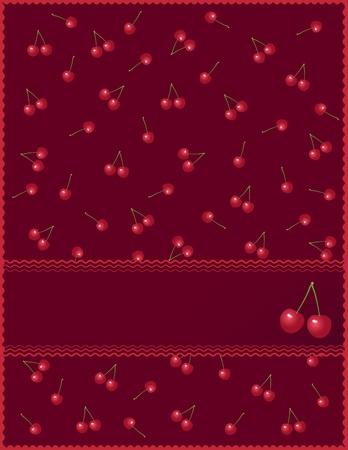 substrate: Postal con las cerezas en un fondo rojo con el marco para la etiqueta