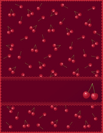 Postcard with cherries on a red background with frame for label Vector