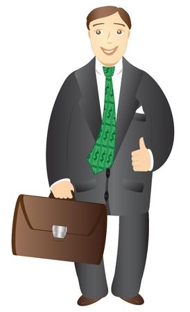 suit case: isolated cartoon smiling businessman with portfolio on white background Illustration