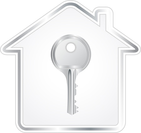 house key: beautiful silver key in metallic house silhouette Illustration