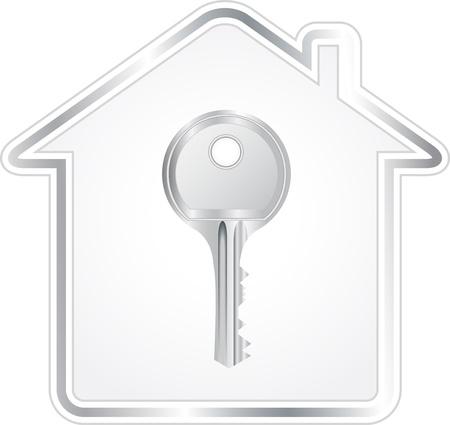 hermosa llave de plata en silueta met�lica casa