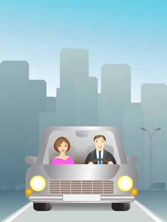 Cute man and woman in car on the road Vector