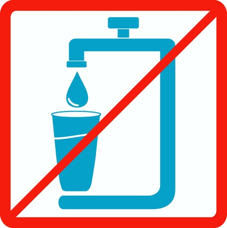 drawing safety: warning prohibition sign with tap and glass silhouette