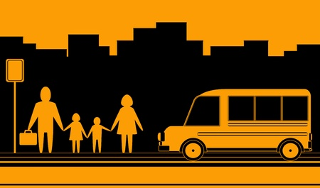 cars on road: urban landscape with family silhouette and bus stop Illustration