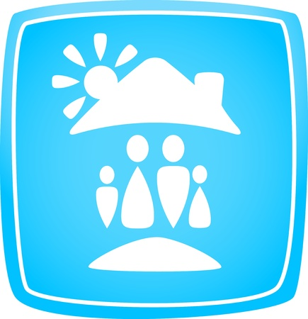 bio safety: blue icon with family, house and sun silhouette Illustration