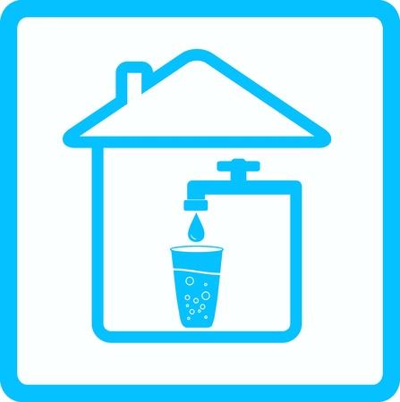 source d eau: icône bleue avec robinet, le verre et l'eau baisse Illustration