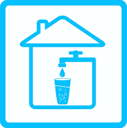 llave de agua: icono azul con agua del grifo, el vidrio y la caída Vectores