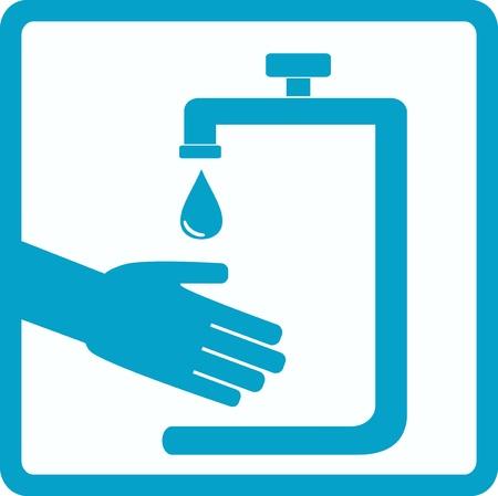 washroom: s�mbolo azul de la higiene con la silueta de la mano
