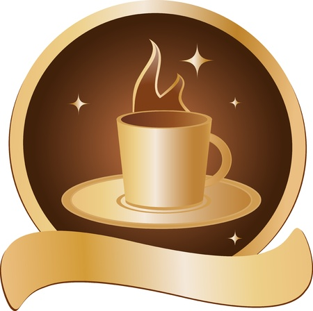 conveniently: emblem with golden cup with hot beverage