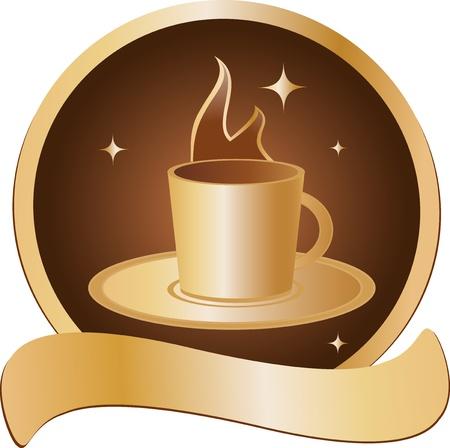 logos restaurantes: emblema con copa de oro con la bebida caliente