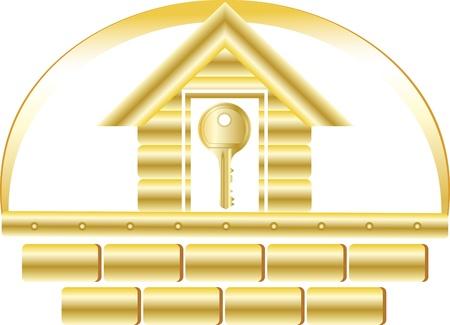 Haus mit goldenen Ziegeln und Schlüssel-Symbol Sicherheit
