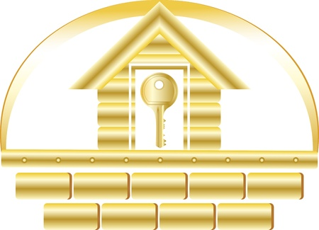 building materials: house with golden bricks and key symbol safety