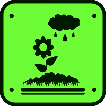 icon of watering the garden with  image flower and cloud Vector
