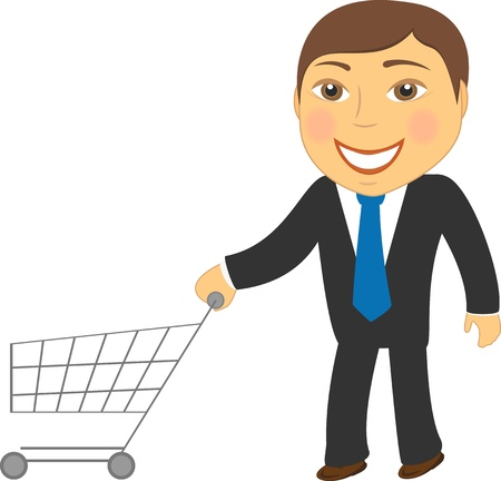 handcart: cartoon isolated man with shopping cart Illustration