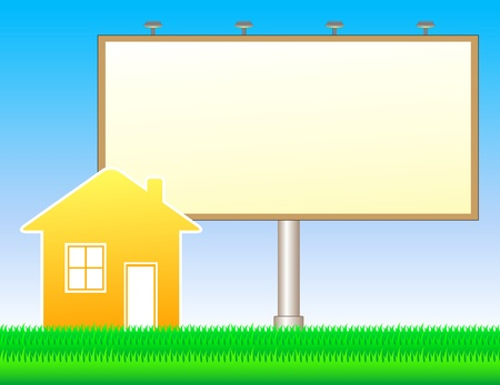 bill board: colorful nature background with grass, billboard and house Illustration