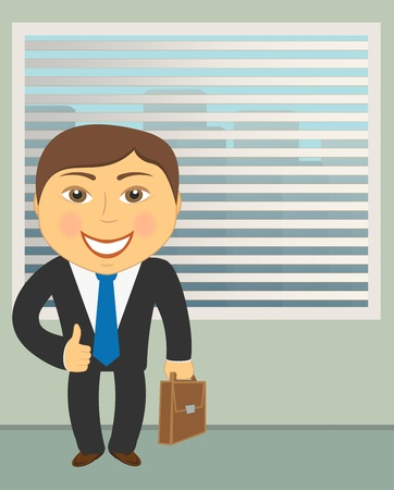 successful career for businessman with jalousie and urban landscape Vector