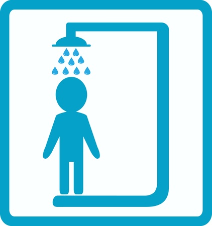 showering: symbol of shower room with man silhouette