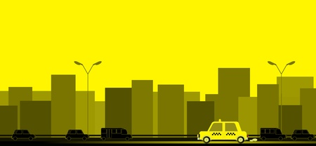 yellow transport background with taxi car on the road and house silhouette Vector