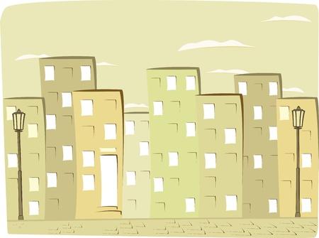 beaux paysages: fond de ville de bande dessin�e de cru avec la silhouette de la maison