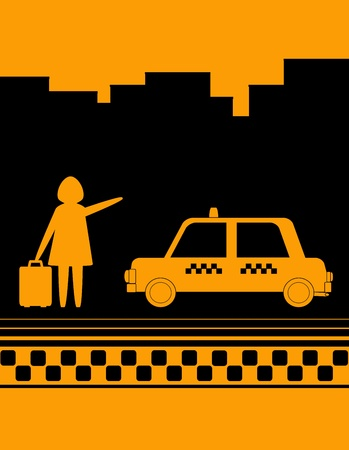 hire: urban background woman standing on street and stops taxi