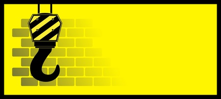 hoist: yellow construction background with bricks and hook Illustration