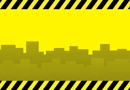 yellow construction background with skyscraper and space for text Stock Vector - 12333894