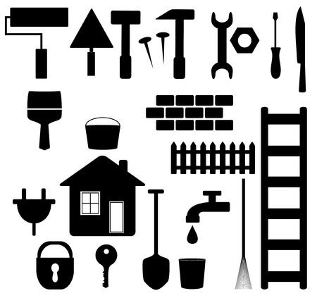 꼭지: 집 수리 및 정원 설정 검은 격리 된 도구 실루엣