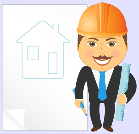 arquitecto: de dibujos animados con el proyecto de ingeniero de la casa, lápiz y una regla Vectores